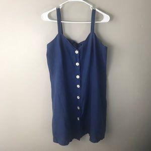 Zara Woman blue button front linen strappy dress